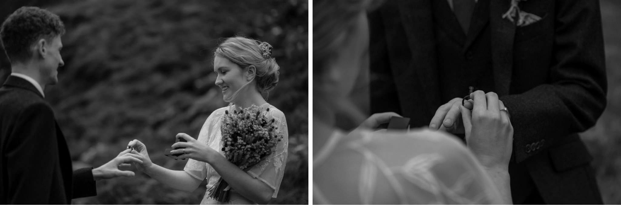 Bride and groom exchange rings during an intimate wedding for two in Scotland