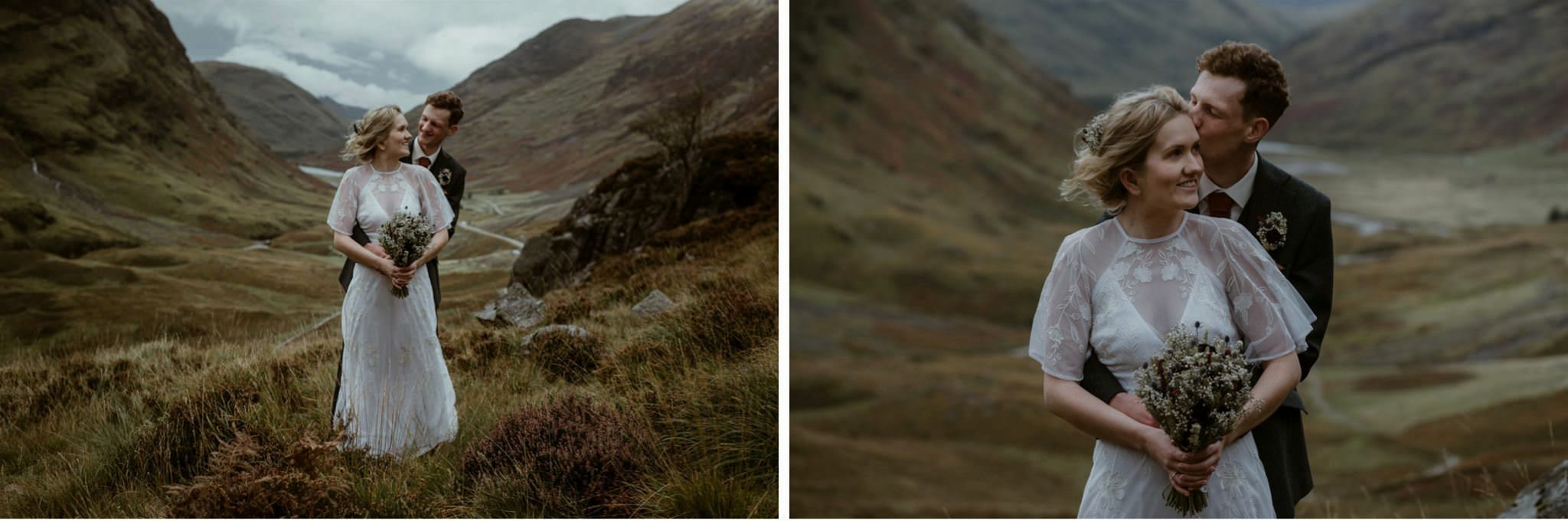 Bride and groom embrace at their elopement in Glencoe, Scottish Highlands