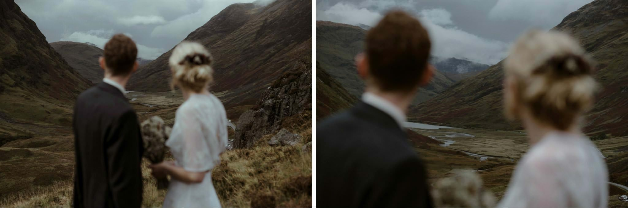 Bride and groom looking down Glencoe Valley during their wedding for two in Scotland