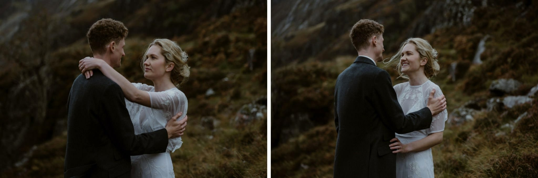 Bride and groom embrace during their wedding for two in Scotland