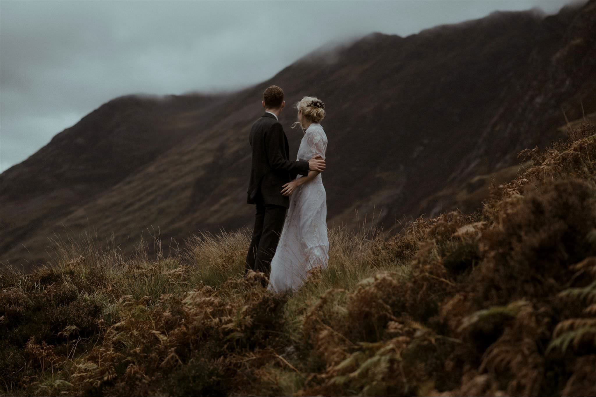 Bride and groom at their Scotland elopement in Glencoe Scottish Highlands
