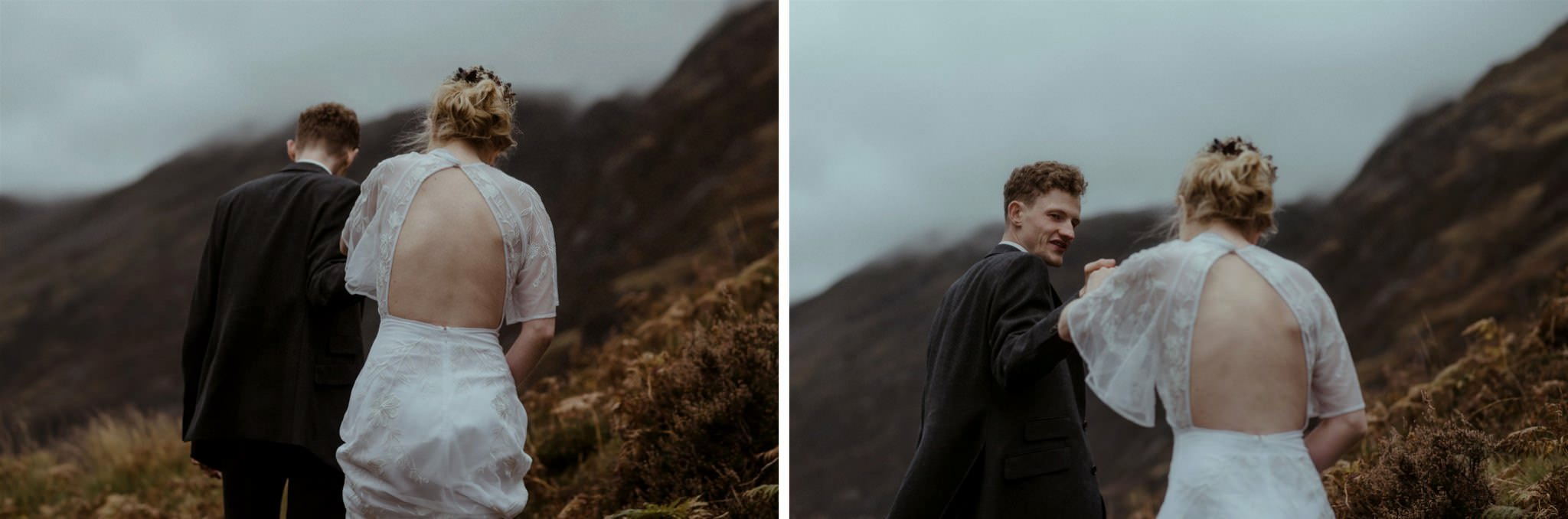 Groom takes brides hand at their Glencoe elopement in the Scottish Highlands