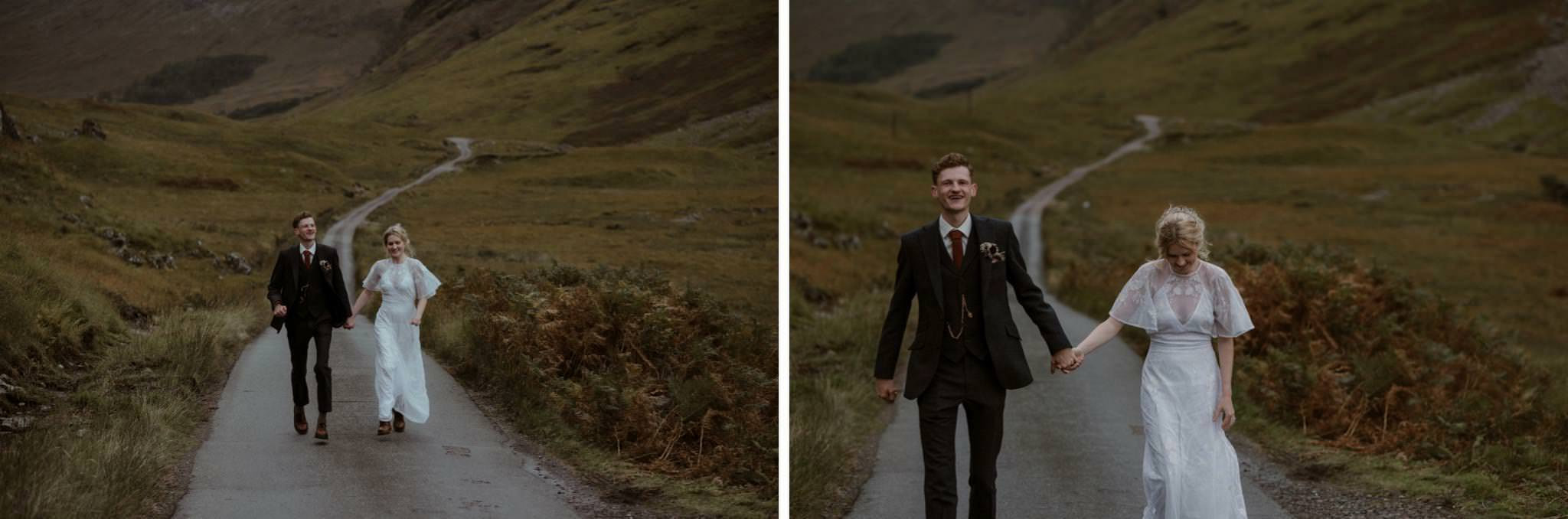 Bride and groom walk down road in Glen Etive after their elopement wedding for two in Scotland