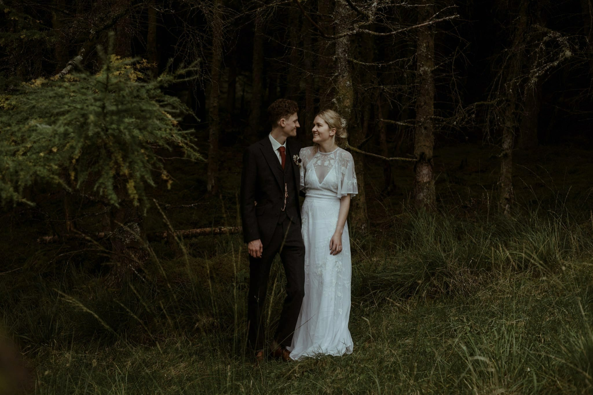 Bride and groom in Glen Etive after their Glencoe elopement wedding in Scotland