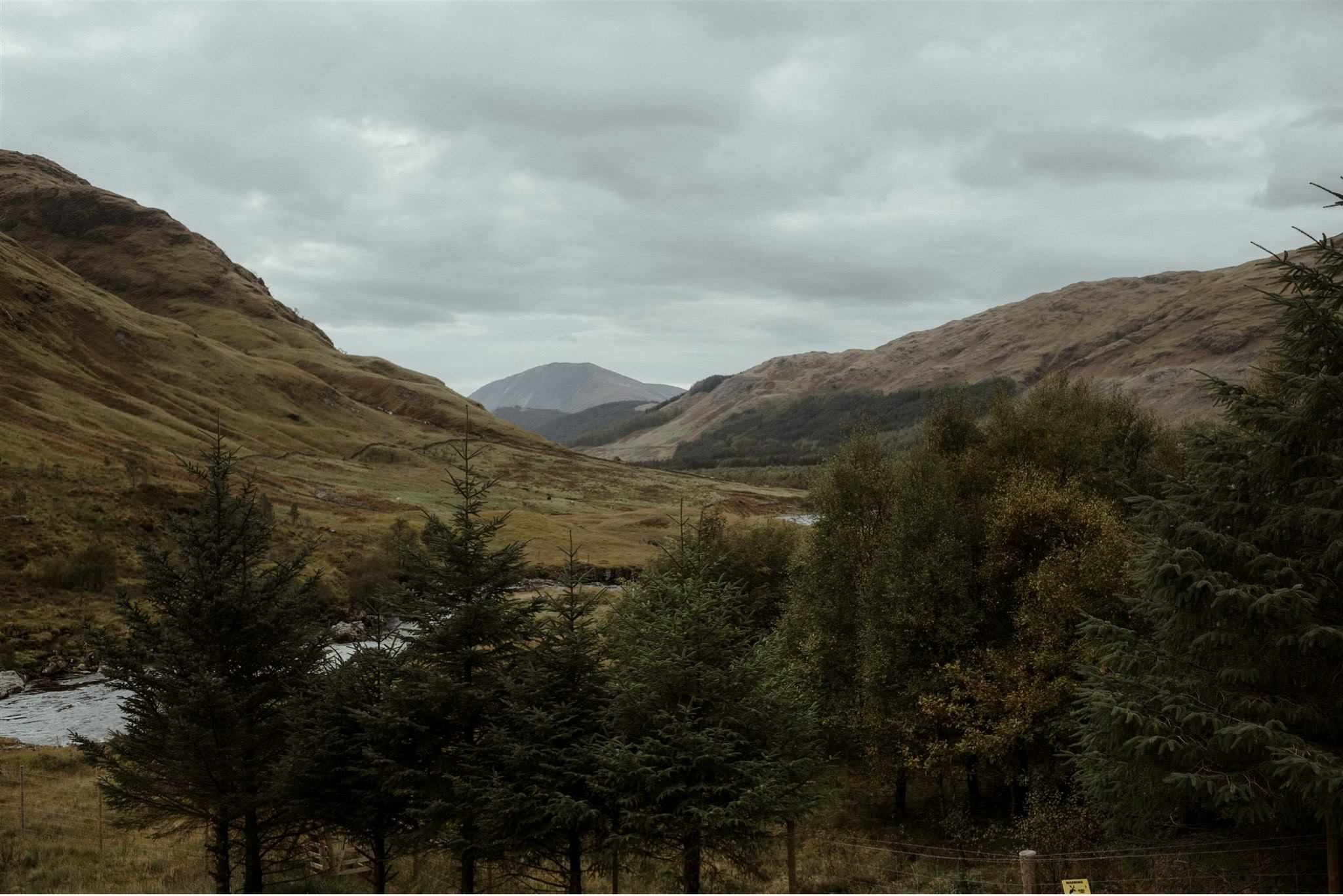 Mountainous scenery in Glen Etive in Glencoe a romantic elopement location in the Scottish Highlands