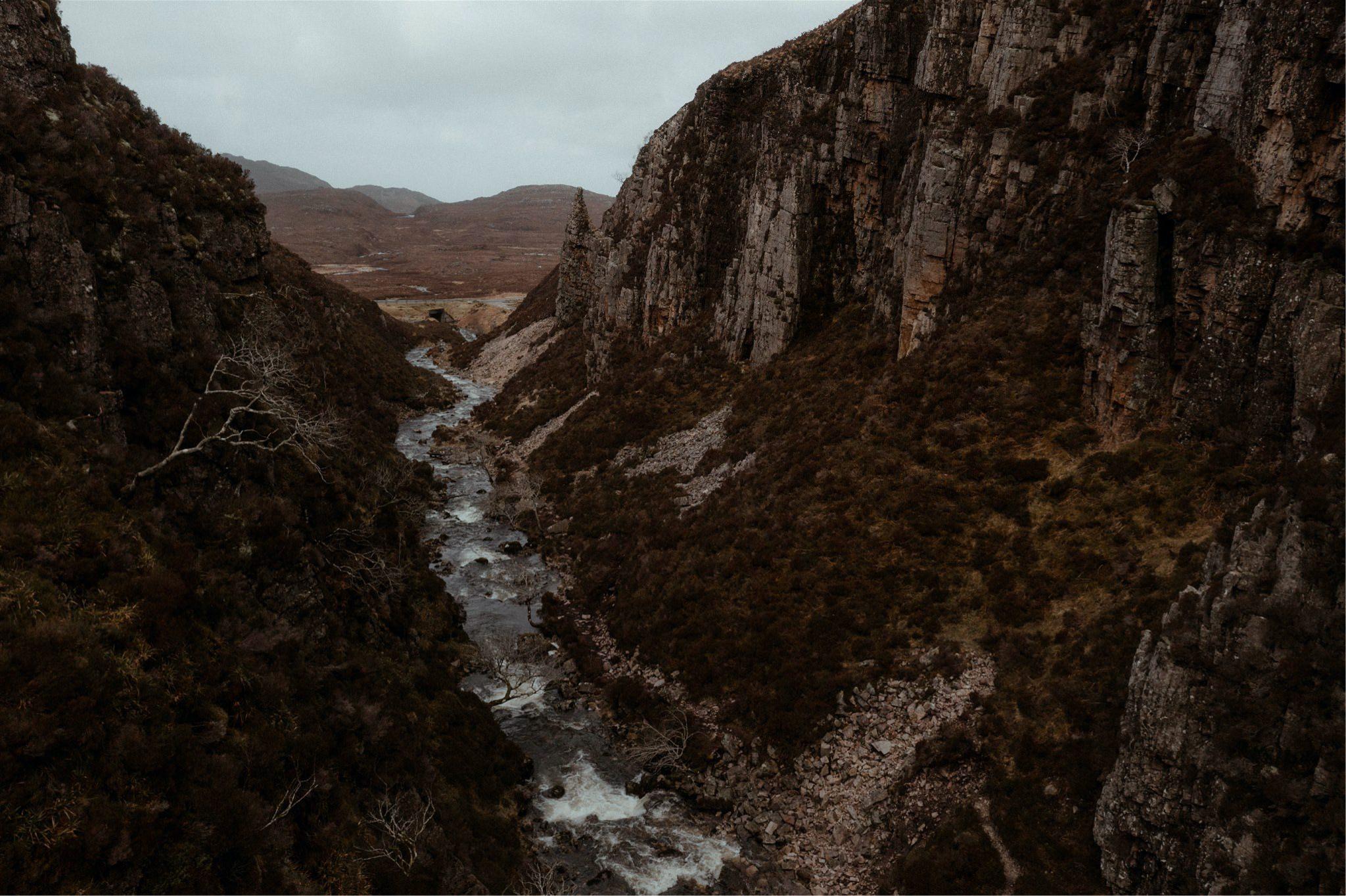 River running through a gorge in Assynt, Scotland