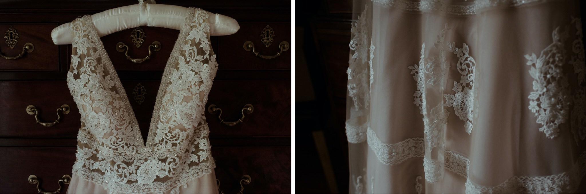 Details of lace on a wedding dress for a Scotland elopement
