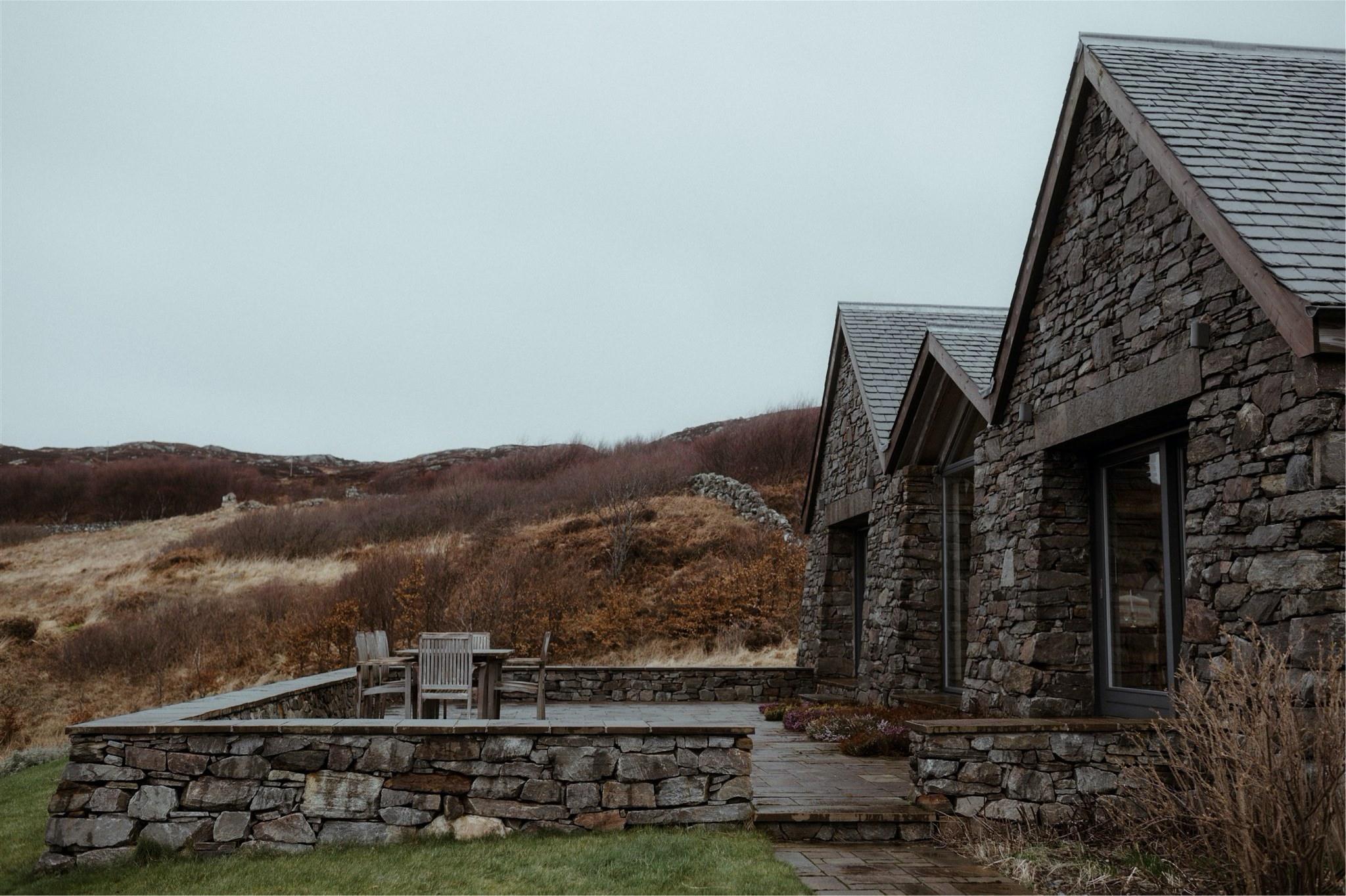Exterior of stone cottage - Scotland elopement accommodation