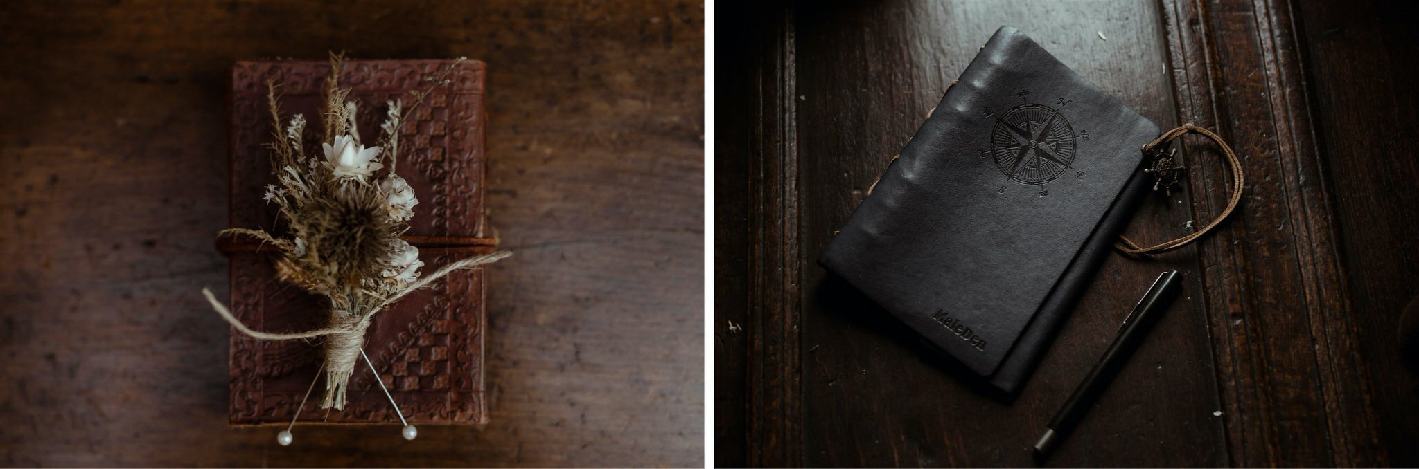 Details of buttonhole and notebook on a wooden table at an elopement in Scotland