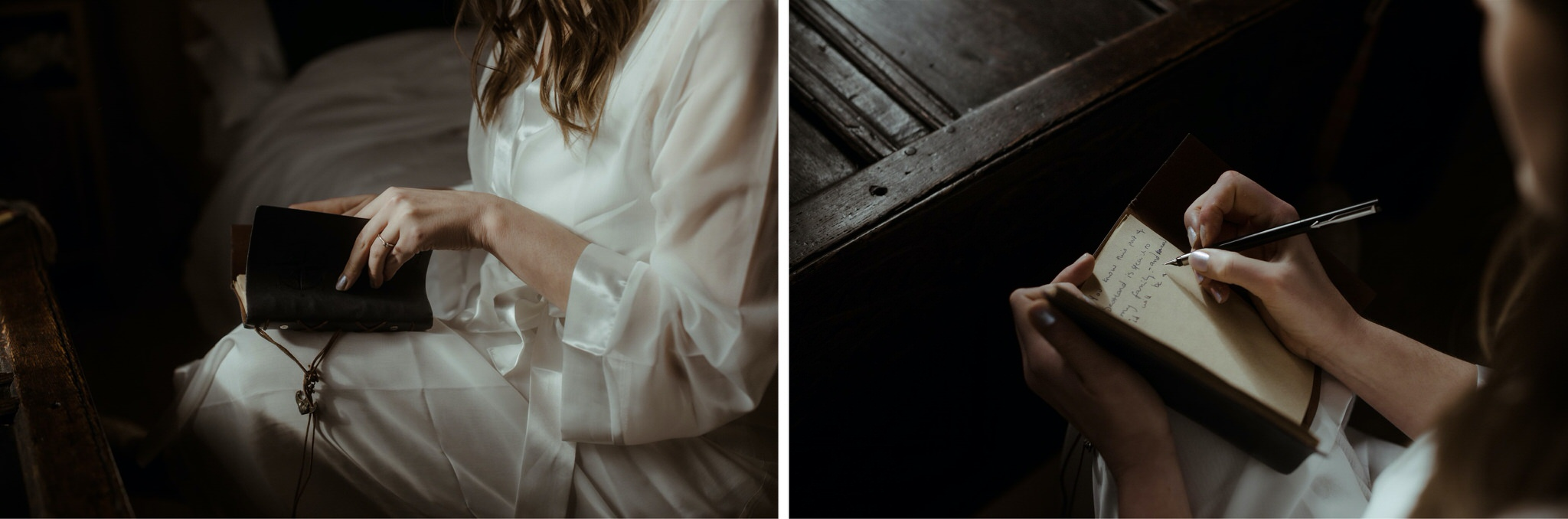 Details shot of bride writing her vows in a notebook before her Scotland elopement