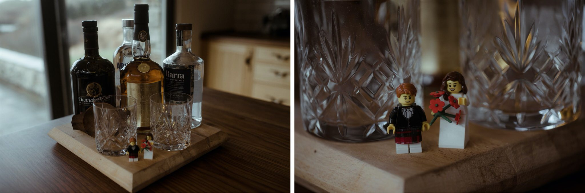 Bottles of single malt whisky at a Scottish elopement