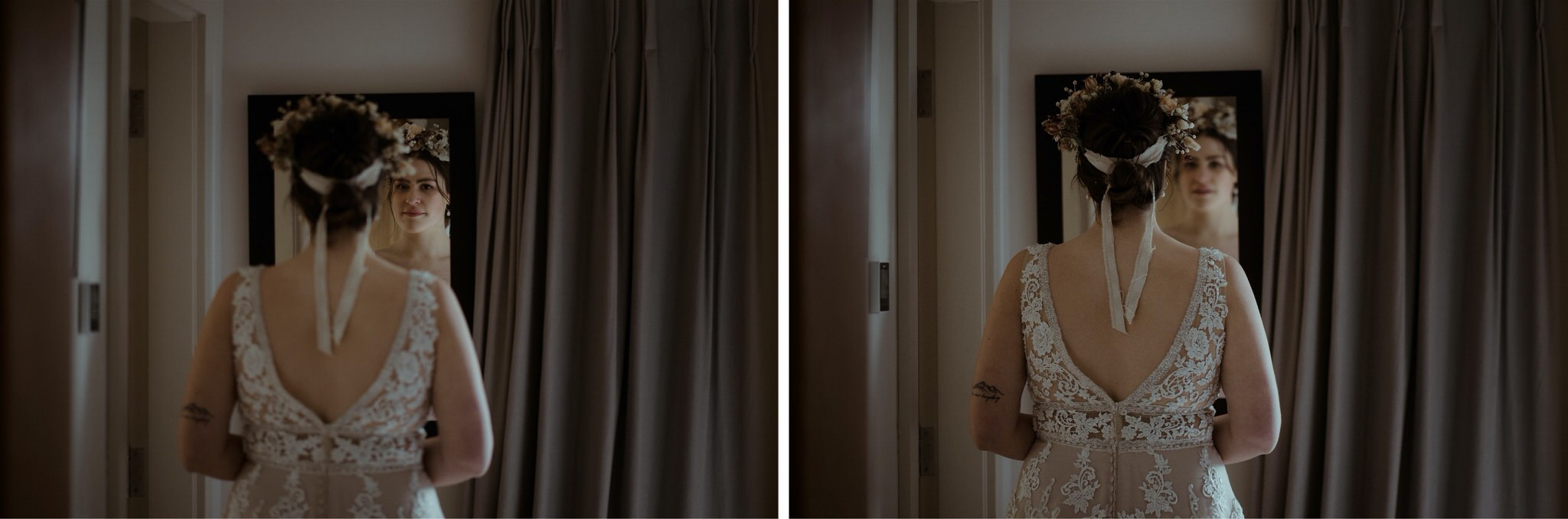 Bride looks at herself in a mirror before her elopement wedding in Scotland