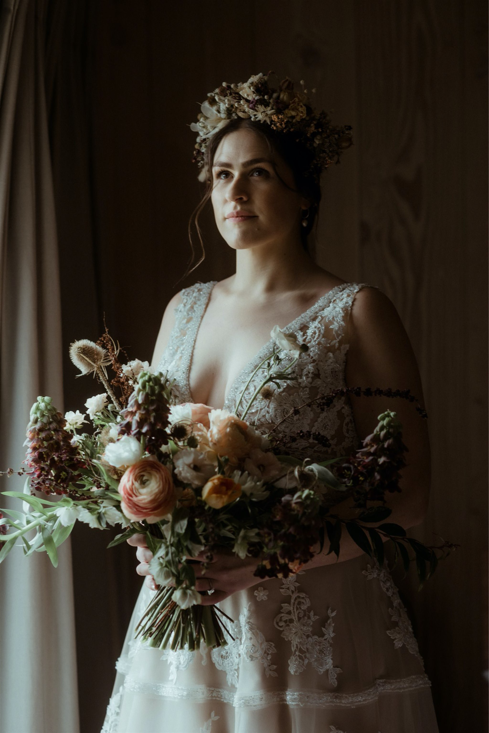 Bride with bouquet ready for her elopement wedding in Assynt, Scotland