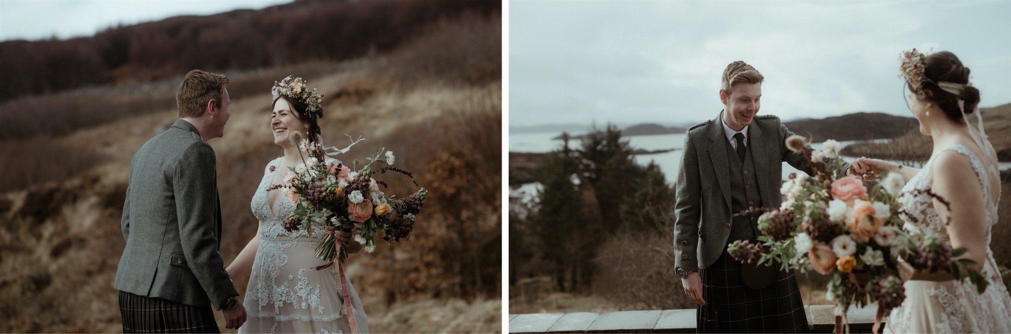Groom's reaction to seeing his bride for the first time during their Assynt elopement wedding in Scotland