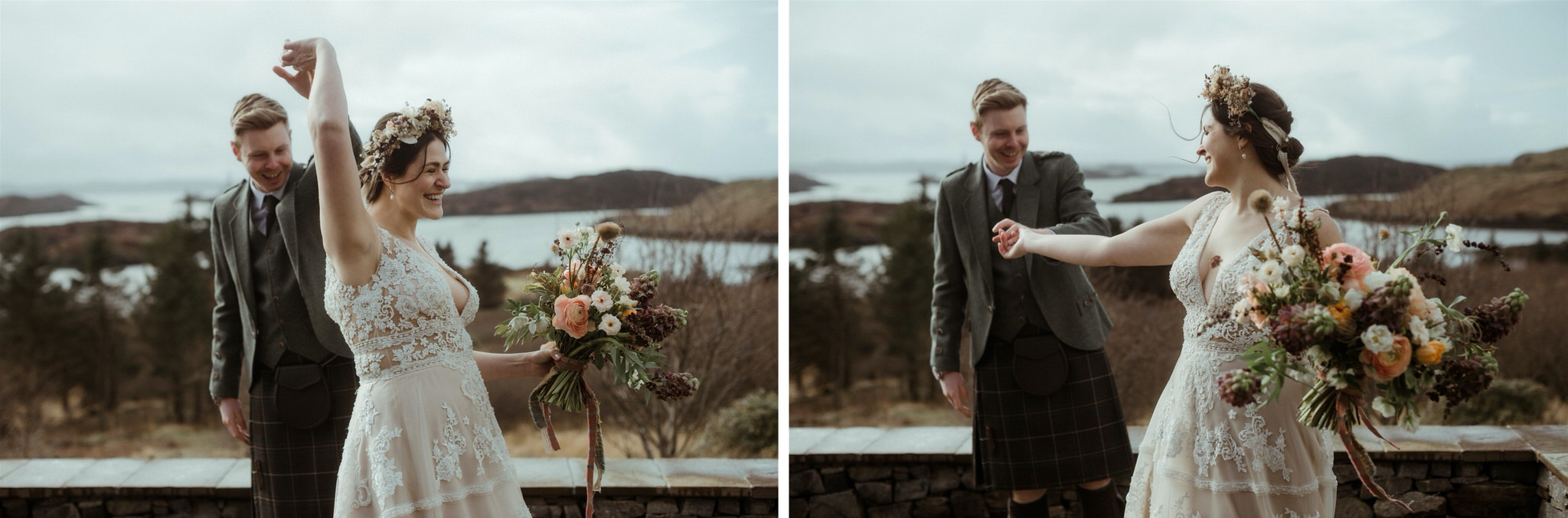 Bride and groom looking joyful during their Scotland elopement wedding in Assynt