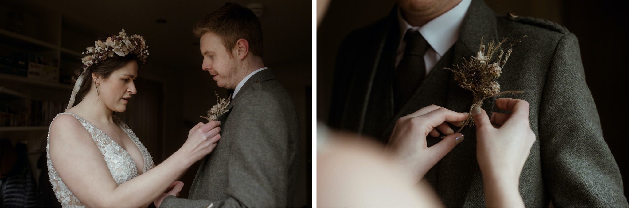 Details shot of bride attaching groom's buttonhole during their Scottish elopement wedding in Assynt