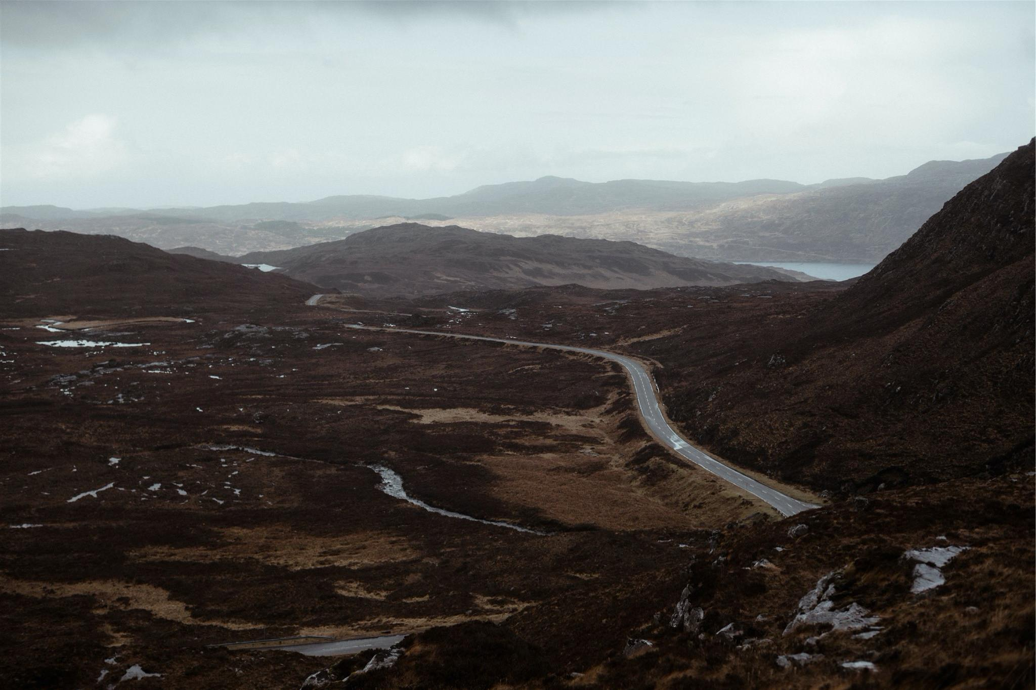 Road through the mountains in Assynt, Scotland
