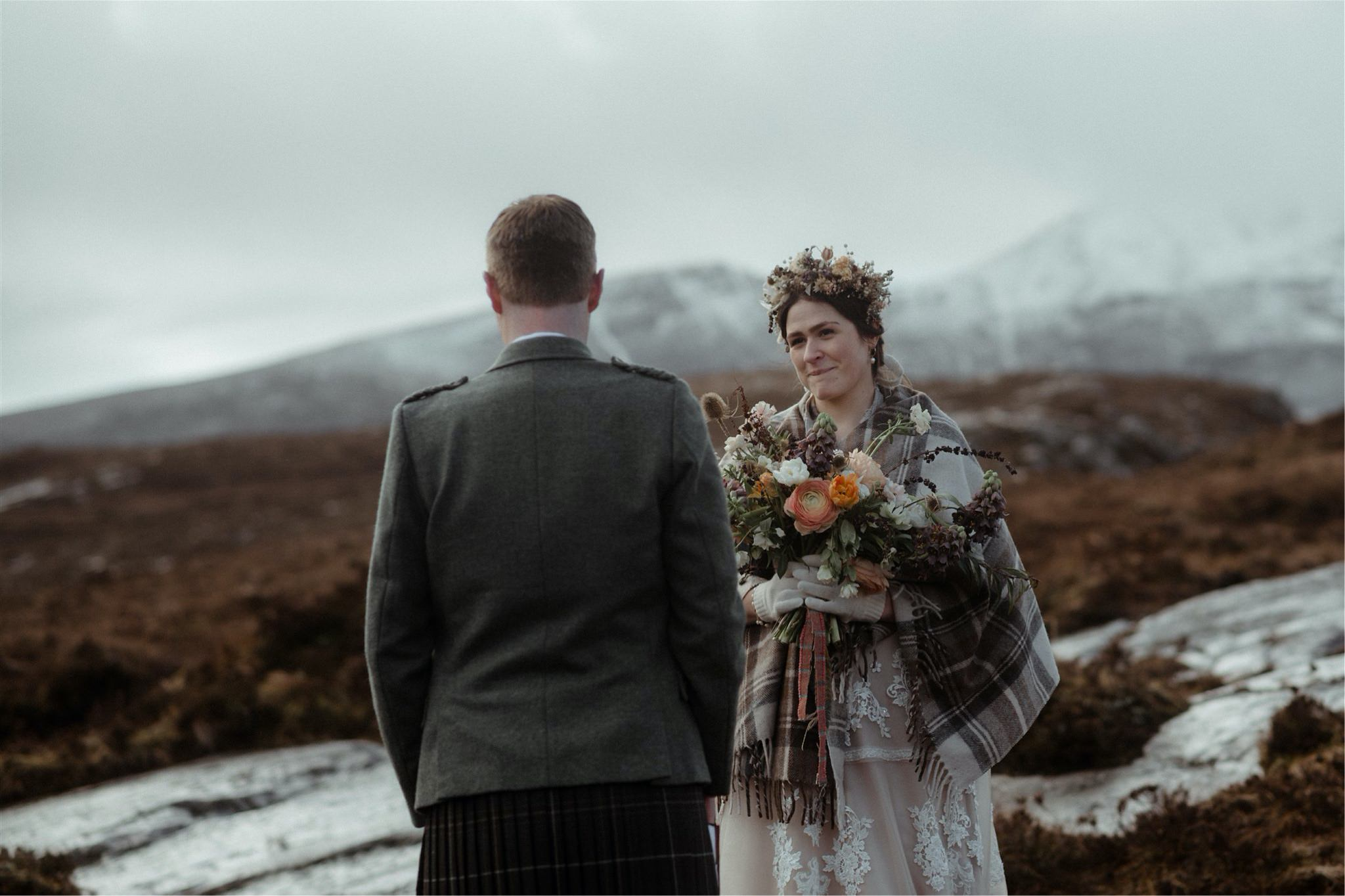 Bride looking at groom lovingly during a Scotland elopement wedding in Assynt