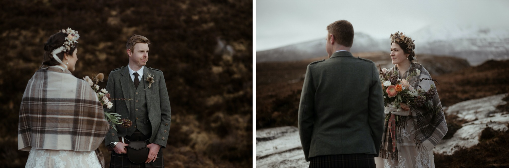 Bride and groom during a Scotland elopement wedding ceremony in Assynt
