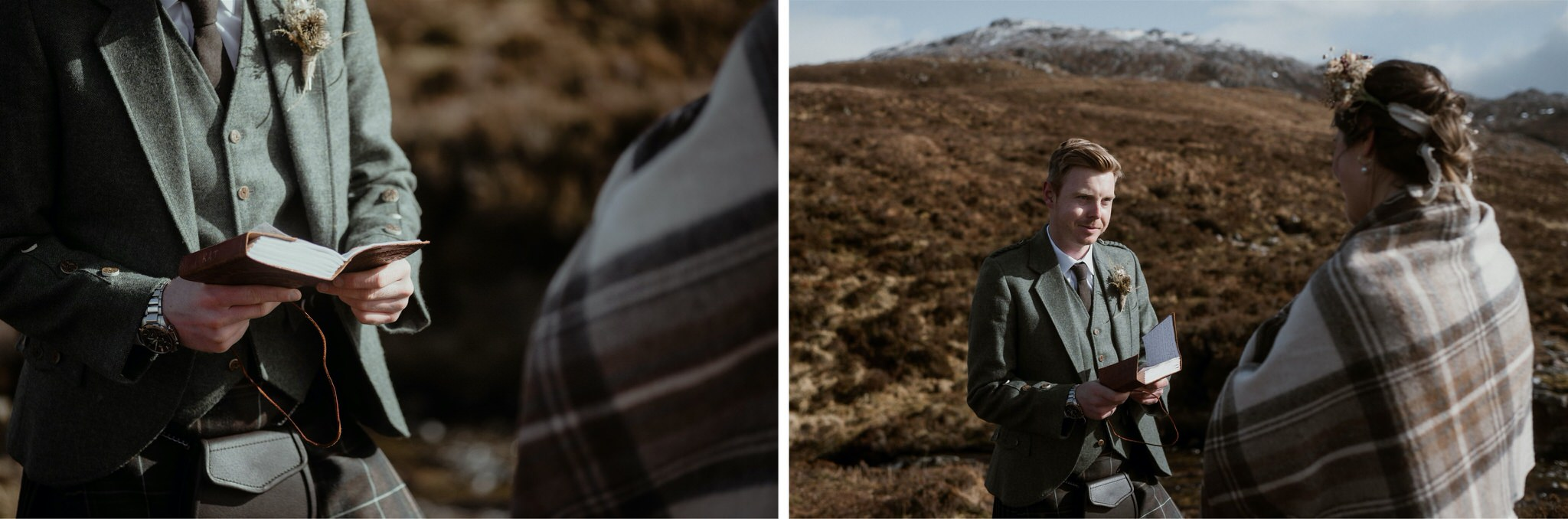 Detail shot of groom reading vows to his bride during an elopement wedding in Assynt, Scotland