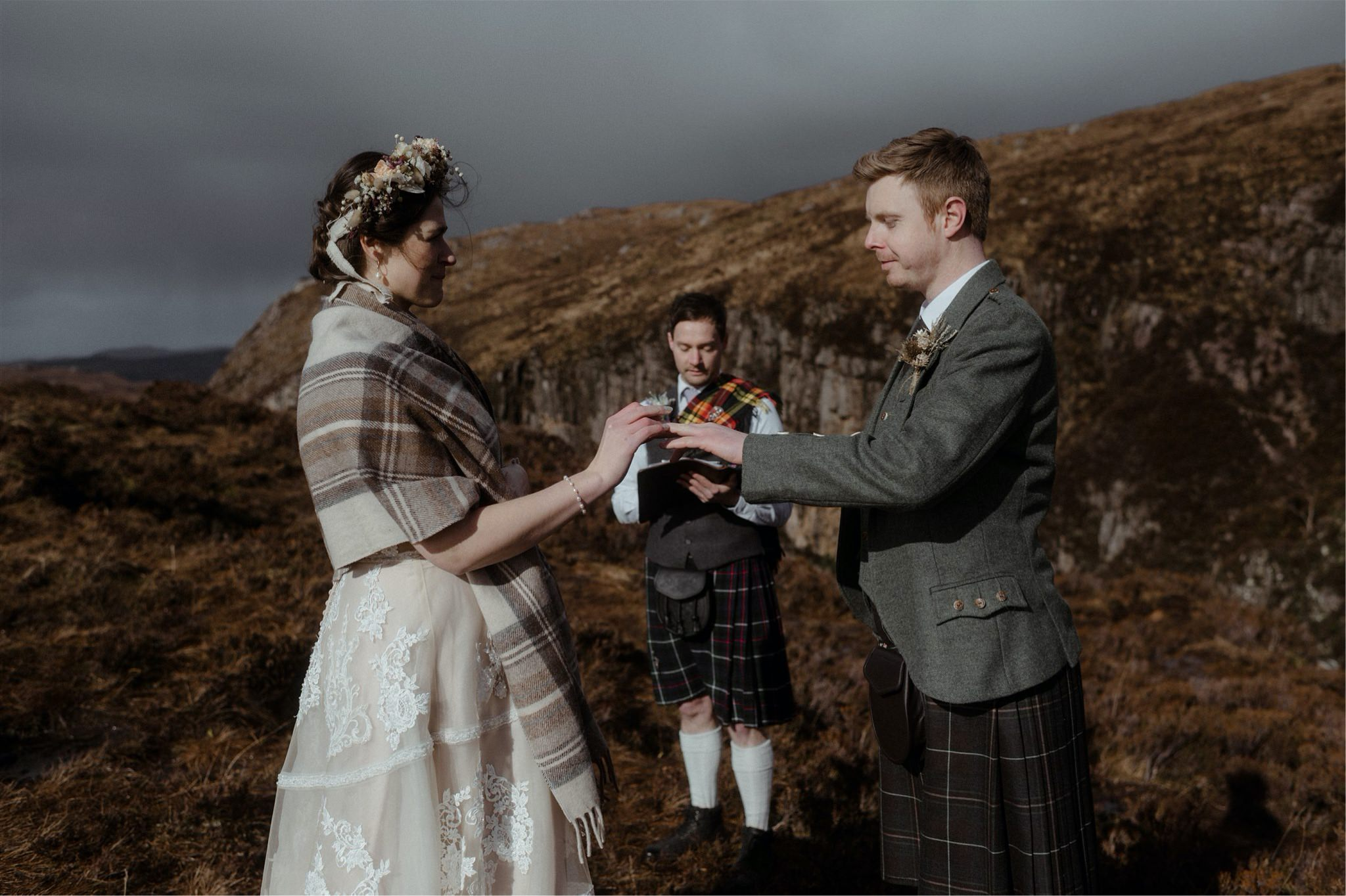 Bride and groom exchange rings during their Assynt elopement wedding in Scotland