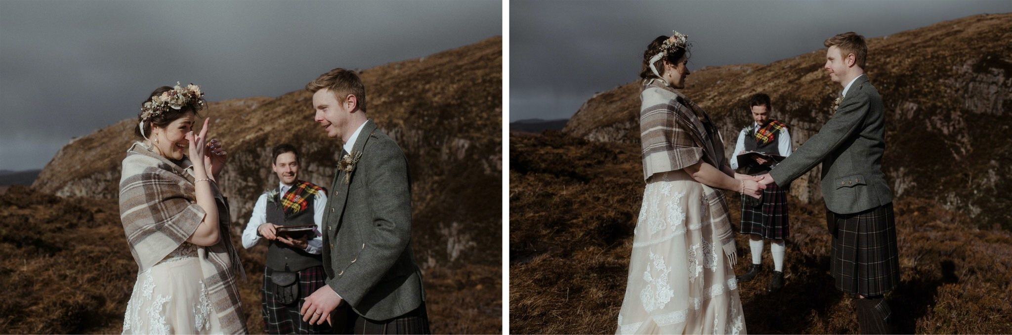 Bride and groom exchange rings during their Assynt elopement wedding in Scotland_Bride getting emotional during an elopement in Scotland