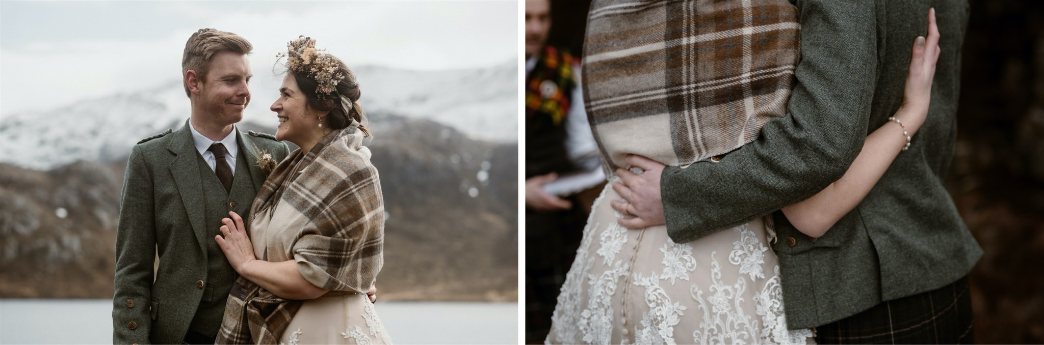 Bride and groom embrace after their Scotland elopement in Assynt
