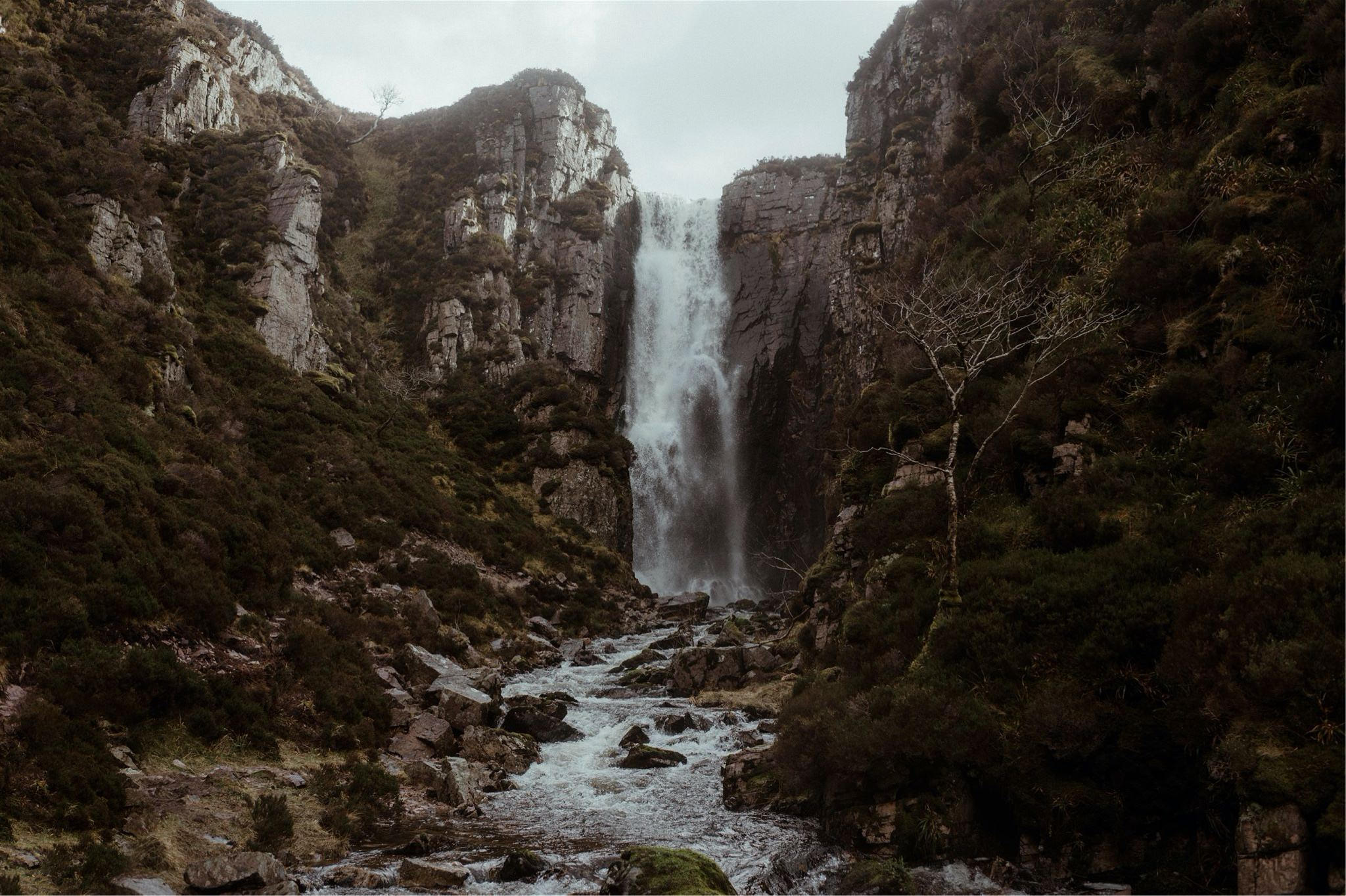 Waterfall and cliff face in Assynt, Scotland