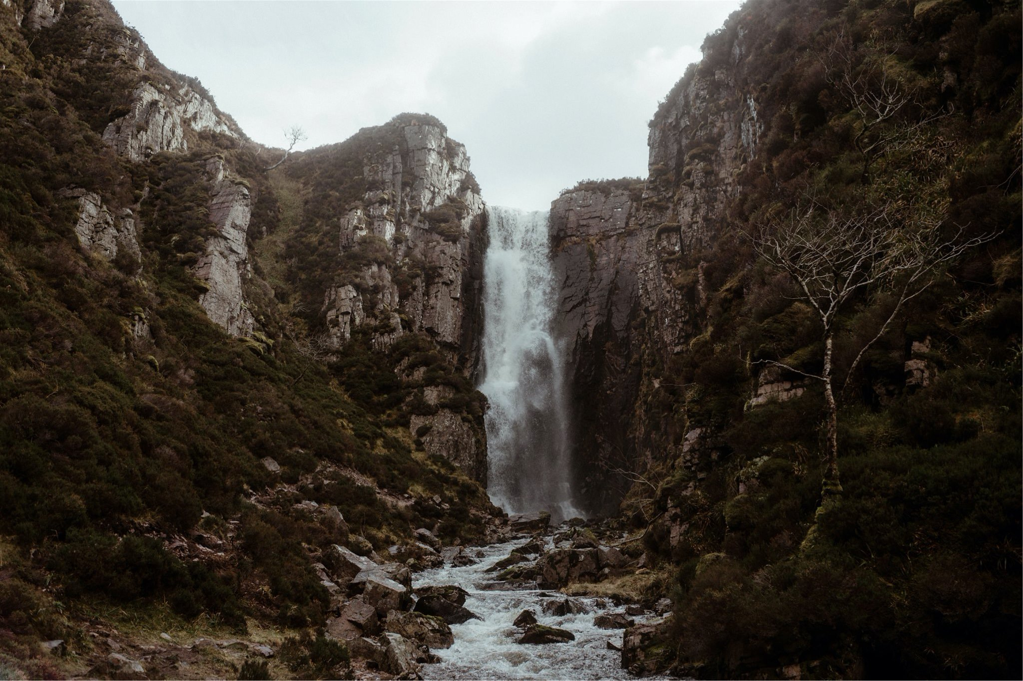 Beautiful waterfall and gorge in Assynt, Scotland