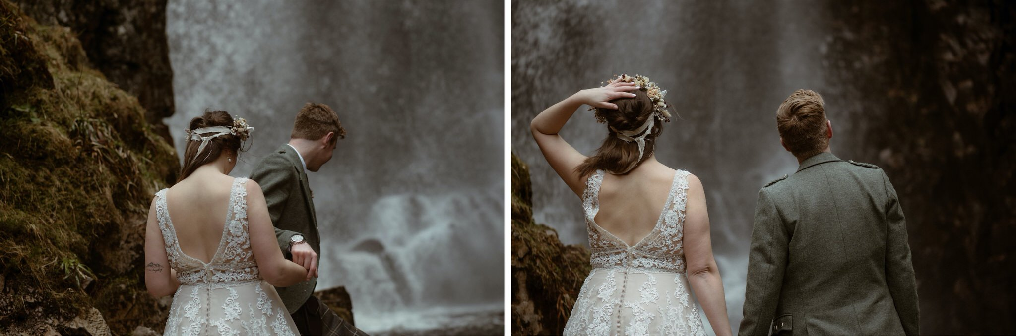 Bride and groom in front of a waterfall gorge after their Scotland elopement wedding in Assynt