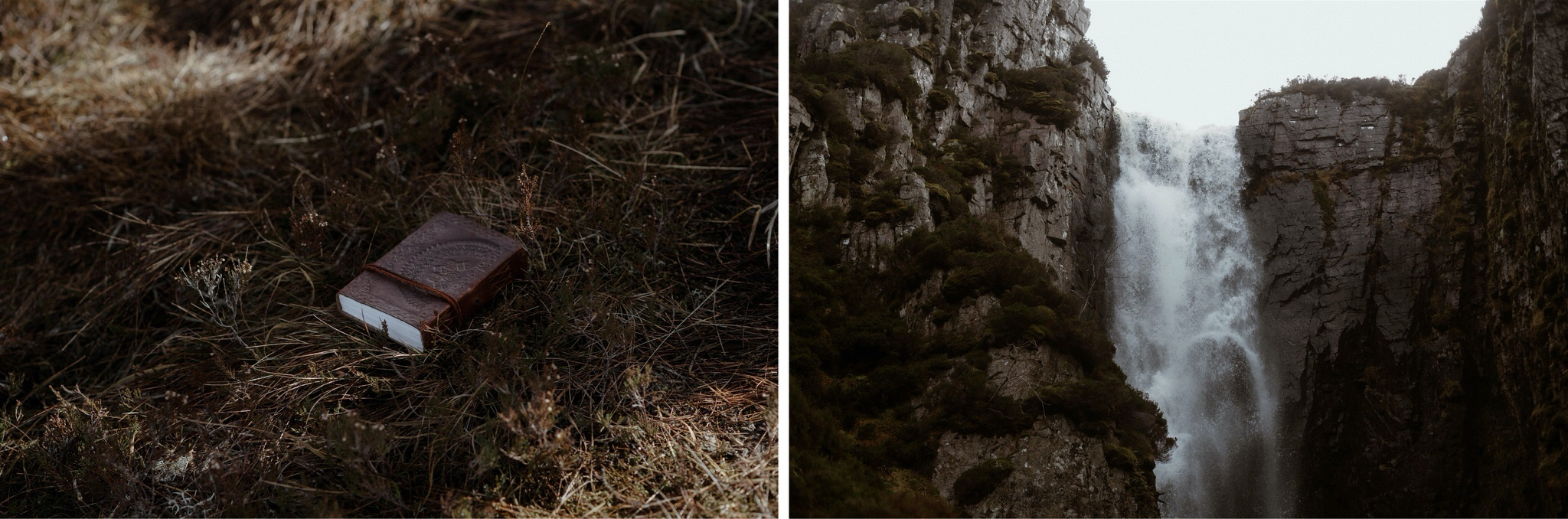 Detail shot of a waterfall in Assynt, Scotland