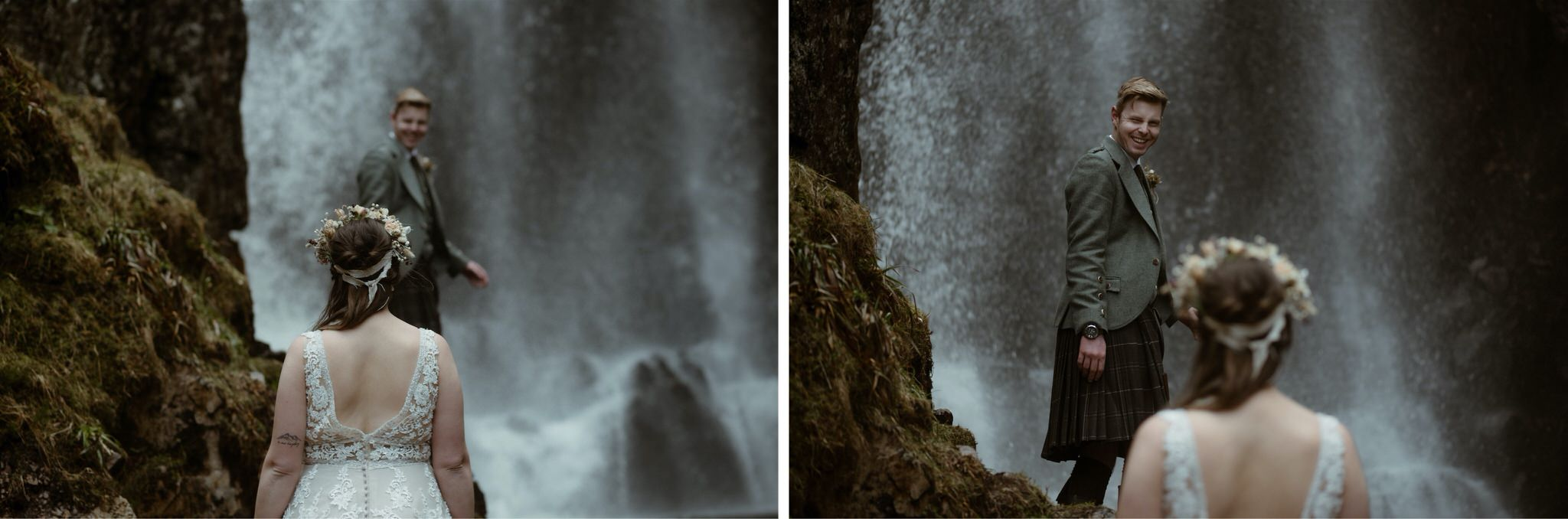Groom standing in front of a waterfall and laughing after her Scotland elopement in Assynt