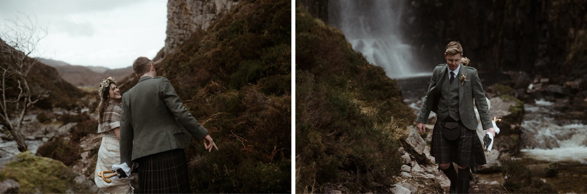 Groom walking through a gorge in Assynt after an elopement wedding in Scotland