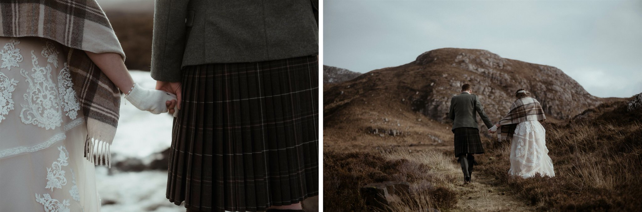 Bride and groom walking up a mountain in Assynt after an elopement wedding in Scotland_Bride and groom holding hands during a Scottish elopement wedding