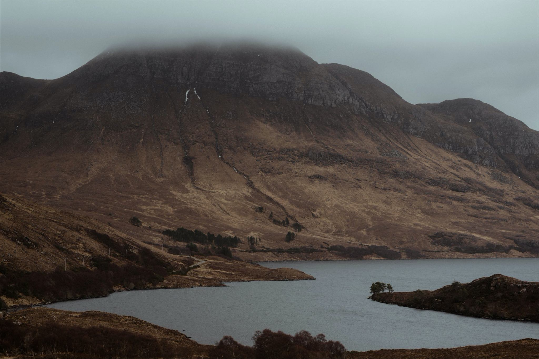 Landscape shot with a loch an mountain in Assynt, Scotland