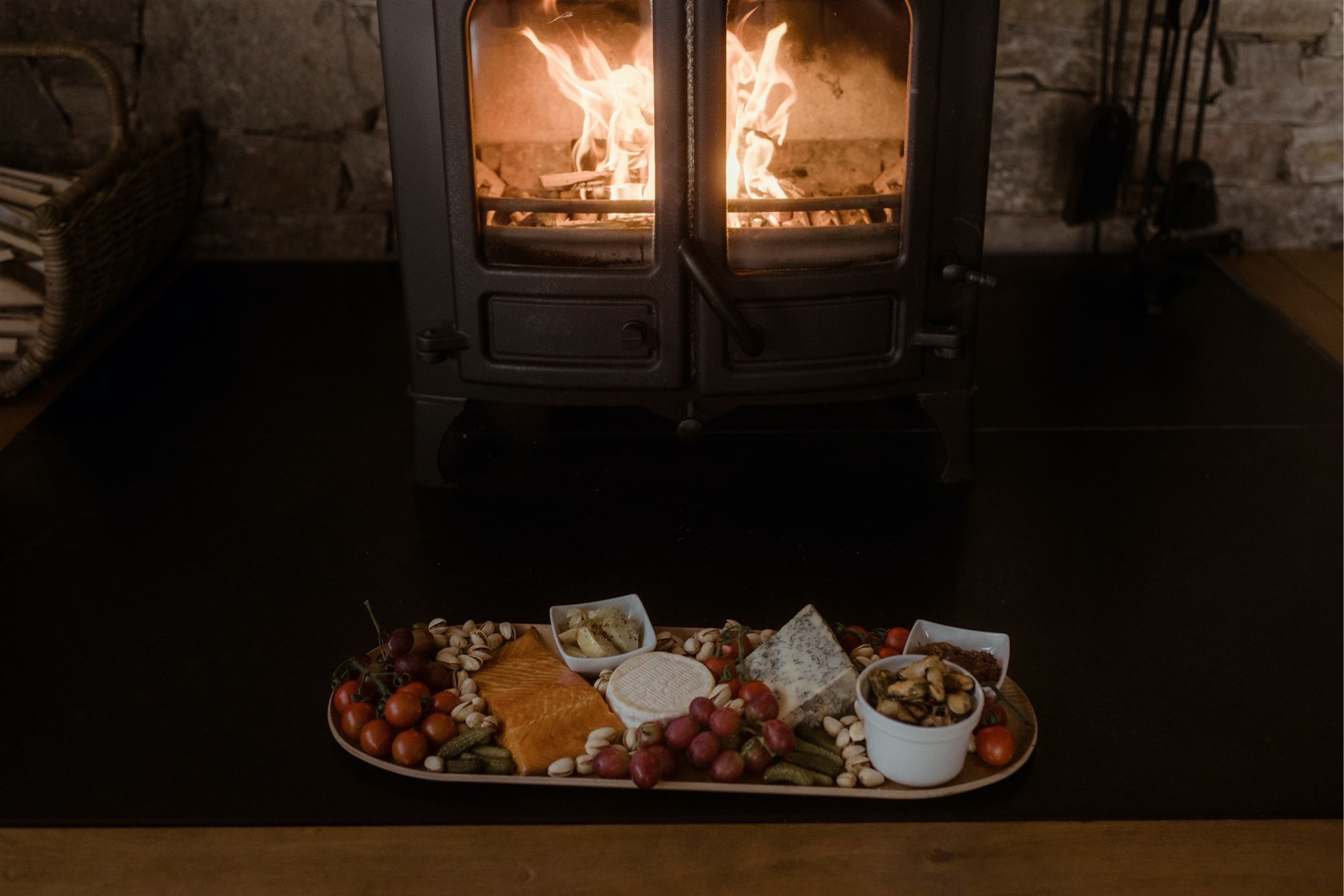 Plate of snack by the fire in a cottage in Scotland