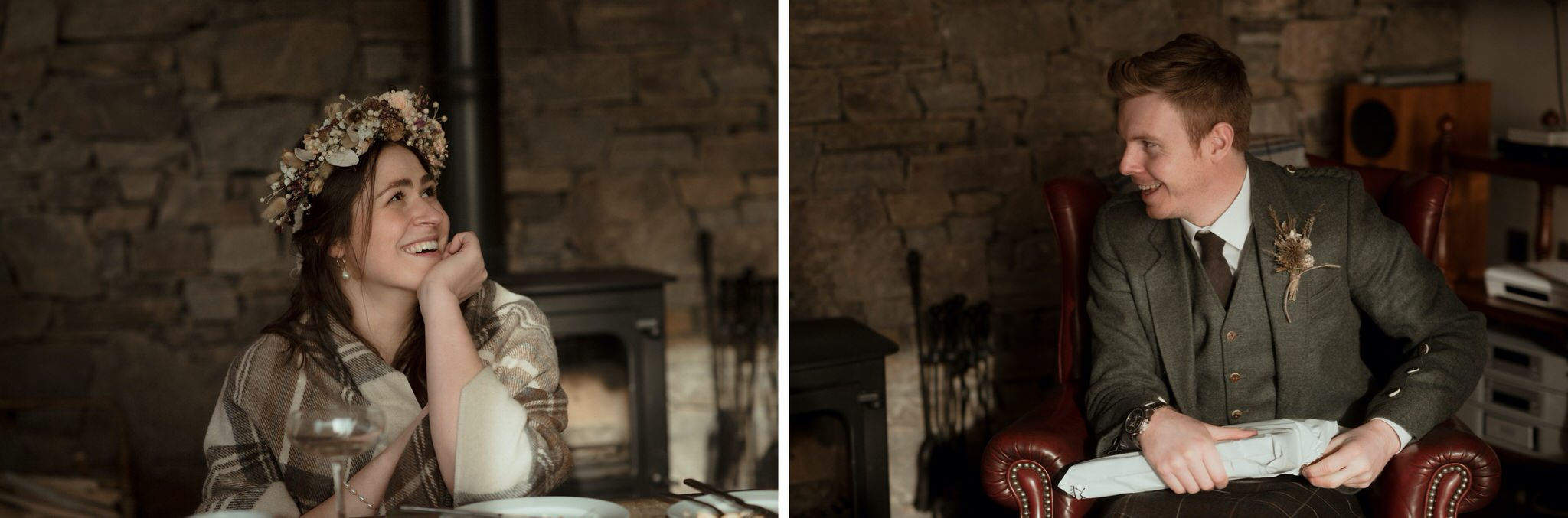 Bride and groom open presents in a cottage after their elopement wedding in Scotland
