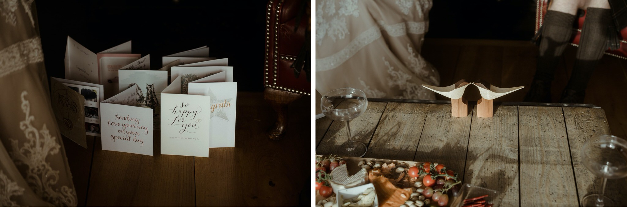 Cards on a table after a Scotland elopement wedding