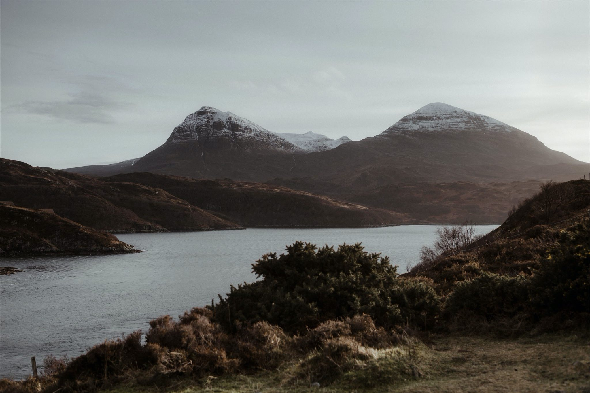 Landscape shot of loch and mountains in Assynt, Scotland