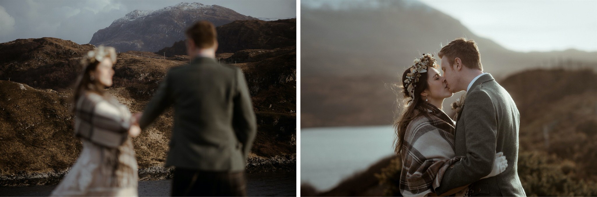 Bride and groom kiss in front of the mountains after their Scotland elopement in Assynt