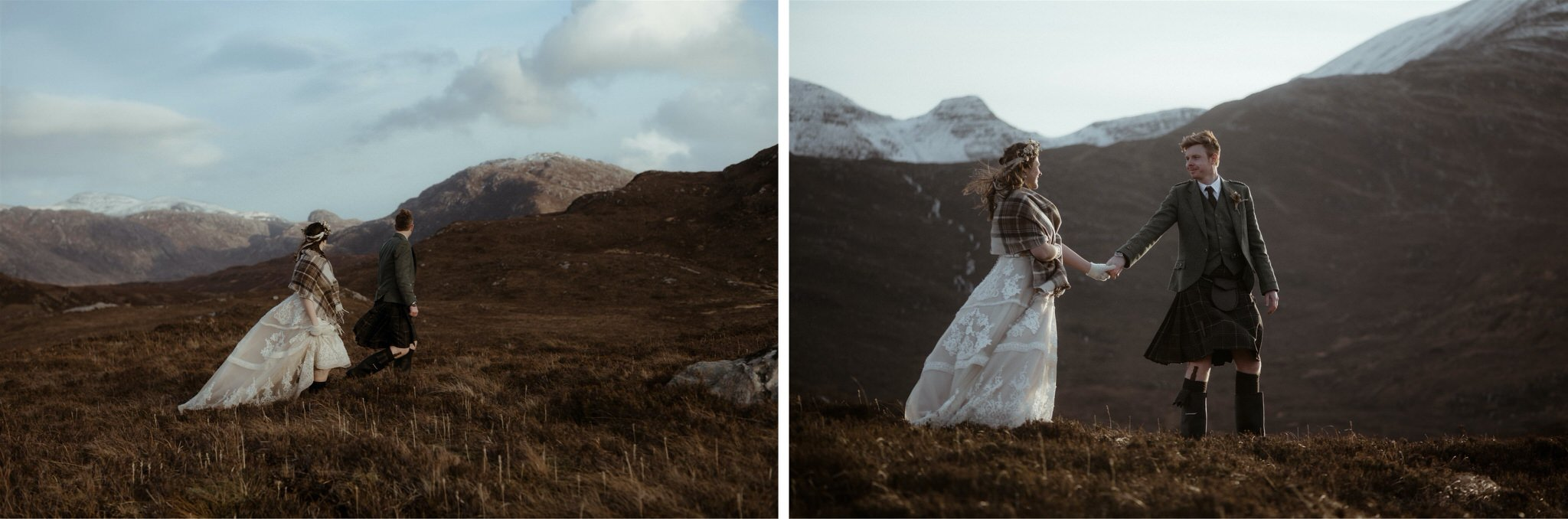 Bride and groom walking in the mountains after their Scotland elopement wedding in Assynt
