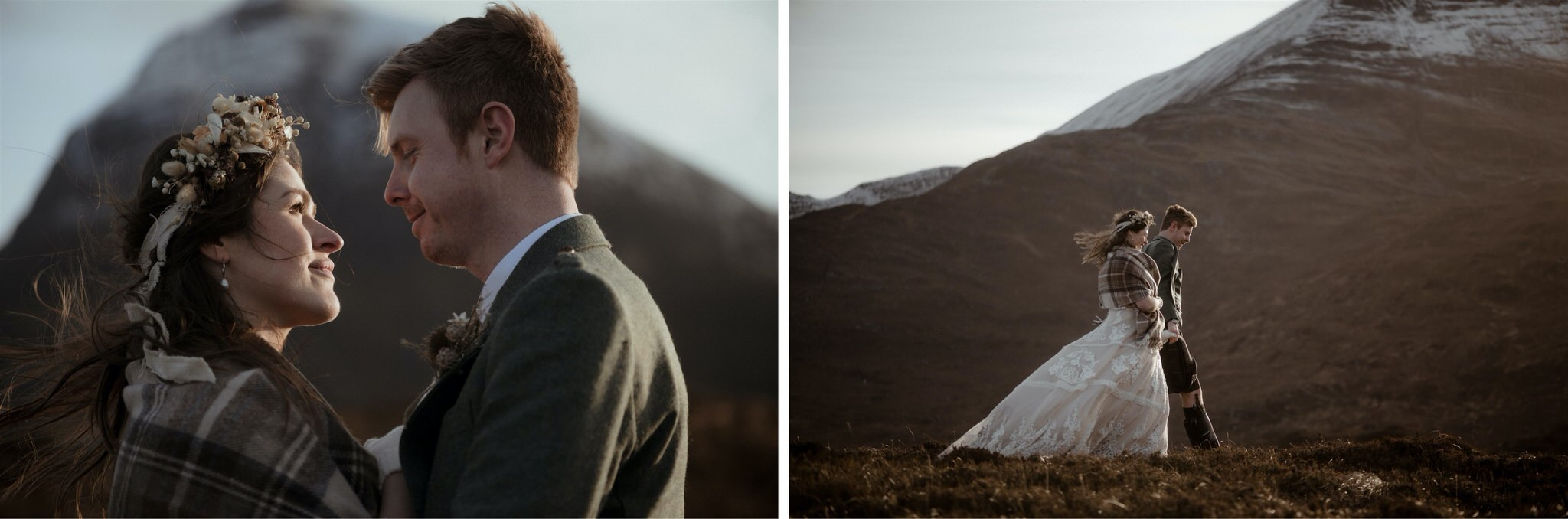 Bride and groom walking in the mountains after their eloping in Scotland in Assynt