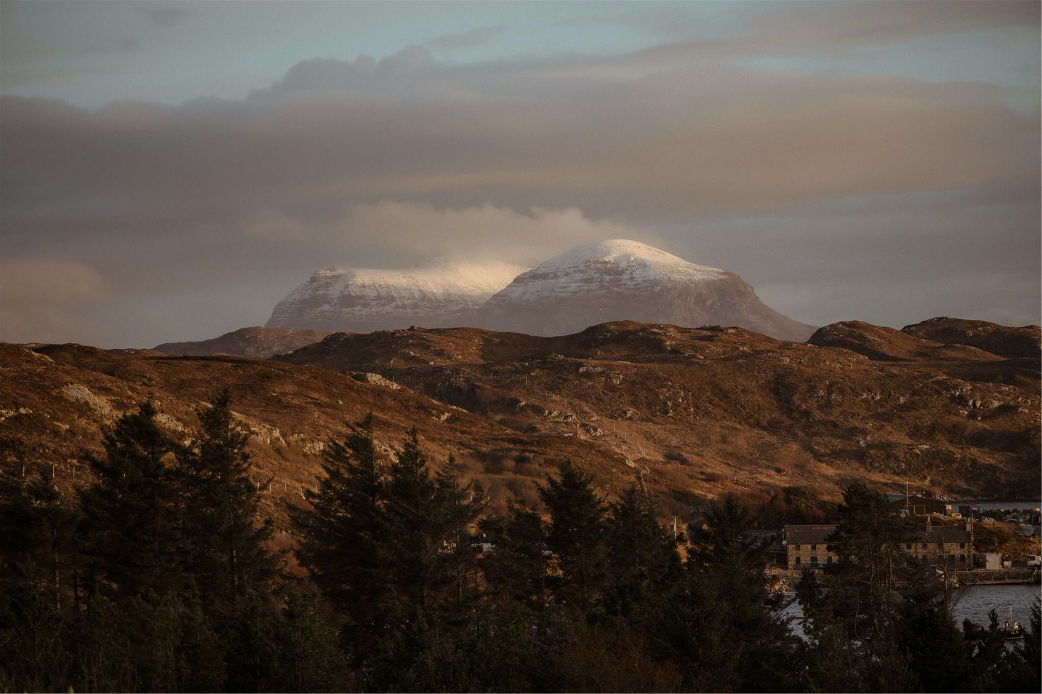 Snowy mountain views in Assynt - on the North Coast 500
