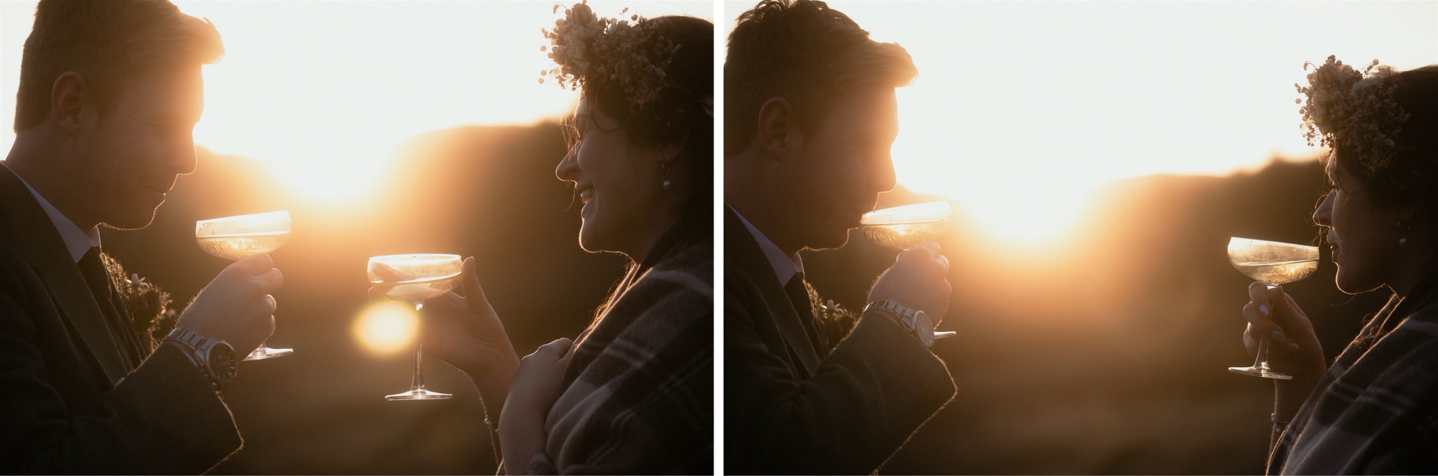 Bride and groom drink Champagne at sunset during their Scotland elopement wedding