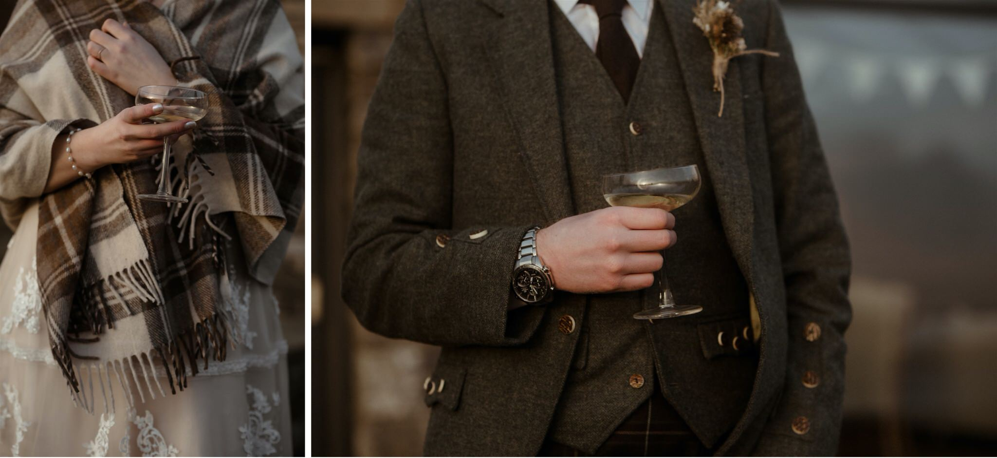 Detail shot of bride and groom drinking Champagne during their Scotland elopement