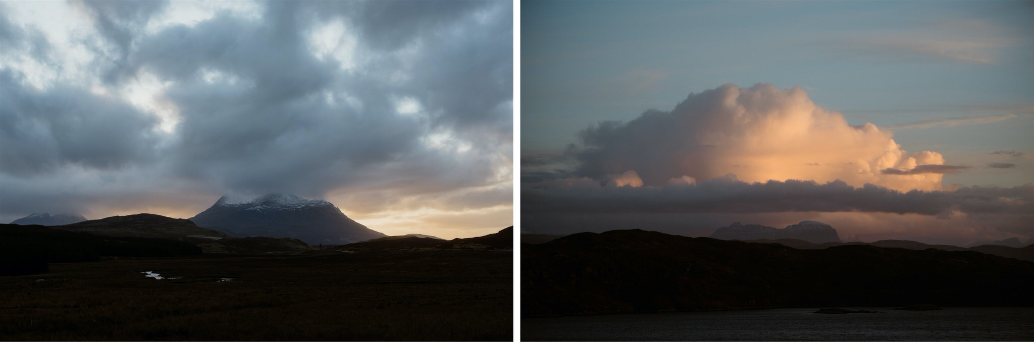 Sunset over the sea in Assynt, Scotland - on the North Coast 500
